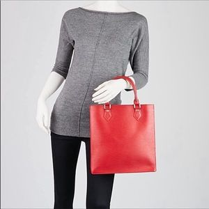 LV Sac Plat Red Epi Leather Tote